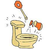 Clipart toilette und handb rste k5242071 suche clip art illustration wandbilder - Badezimmer comic ...