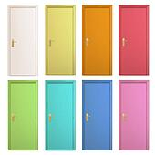 Clip Art of Collection of colorful doors Vector design k16518752