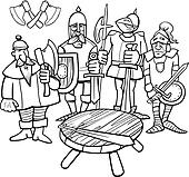 Clipart Of Knights The Round Table Coloring Page K16554882
