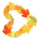 Clipart of I love autumn! Heart shape from falling leaves ...