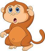 Clip Art of Monkey cartoon thinking k11341499 - Search ...