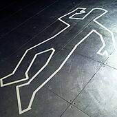Stock Photo of Chalk outline of dead body on pavement x14824653 ...