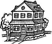 Haus clipart schwarz weiß  Stock Illustration - geschoß zwei, haus, schwarz weiß szo0437 ...