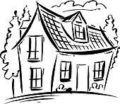 Haus clipart schwarz weiß  Stock Illustration - villa, schwarz weiß szo0405 - Suche Clipart ...