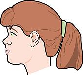 Drawing of Lateral view of head of young child with lymph ...