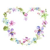 Clip Art Of Flower Picture Frame Heart Shape With